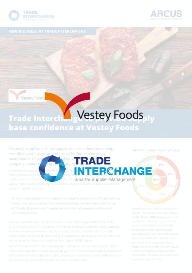 Trade Interchange to provide supply base confidence at Vestey Foods